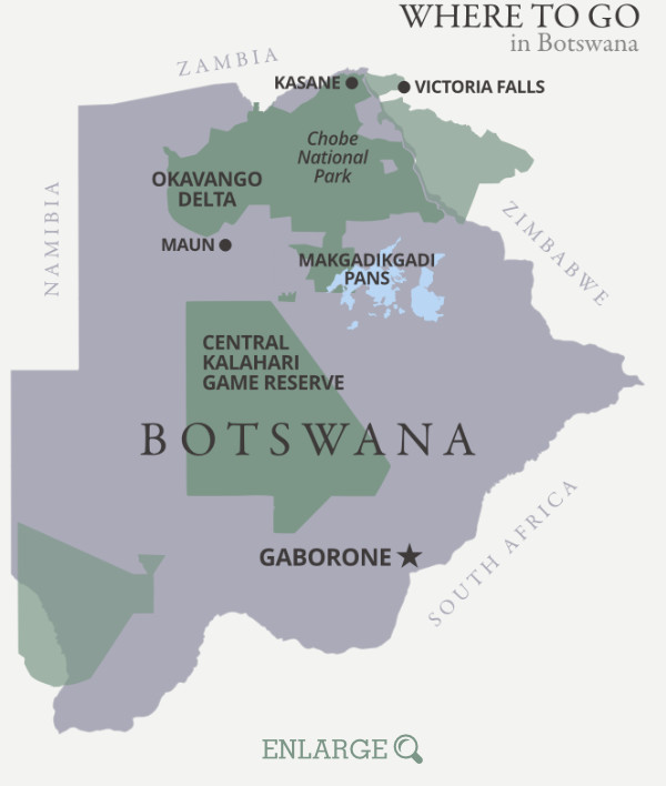 Where to go in Botswana map