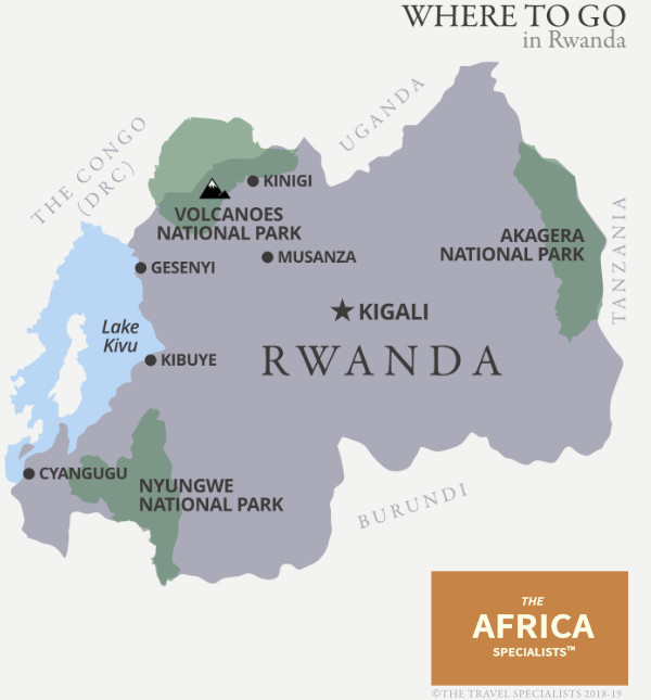 Where to go in Rwanda map