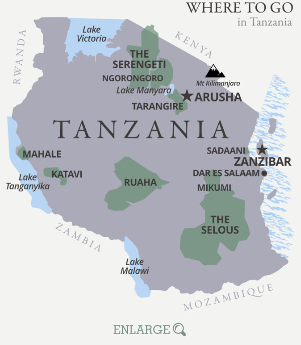 Where to go in Tanzania map